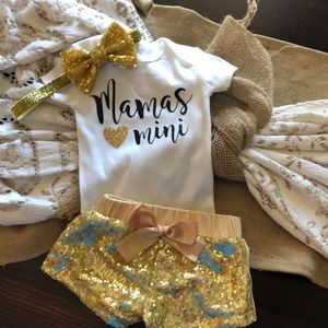Baby Girl onesie with sequin Shorts and Bow